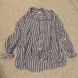 BeachLunchLounge Striped High Low Button Up